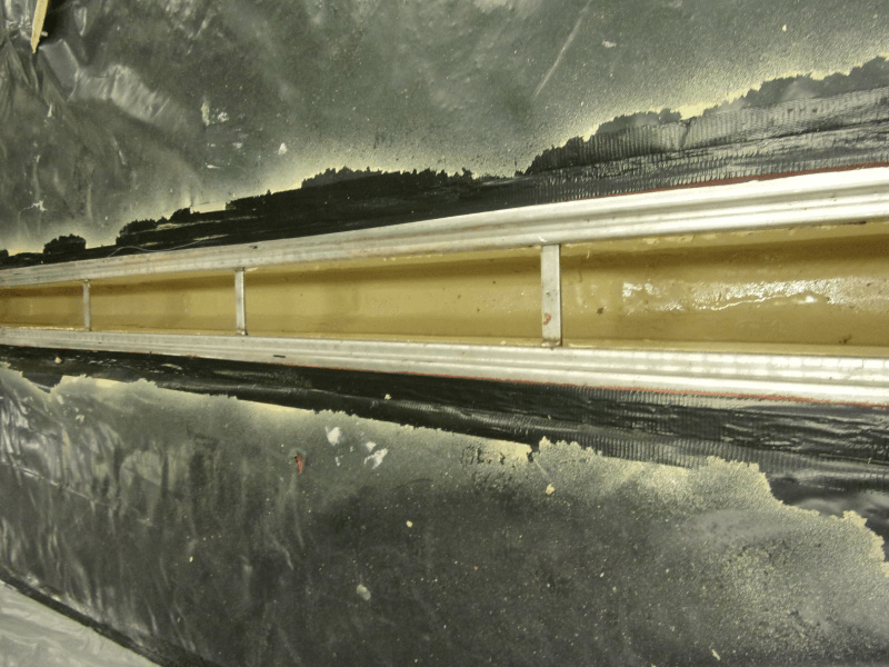 polyurea leaking drain lining