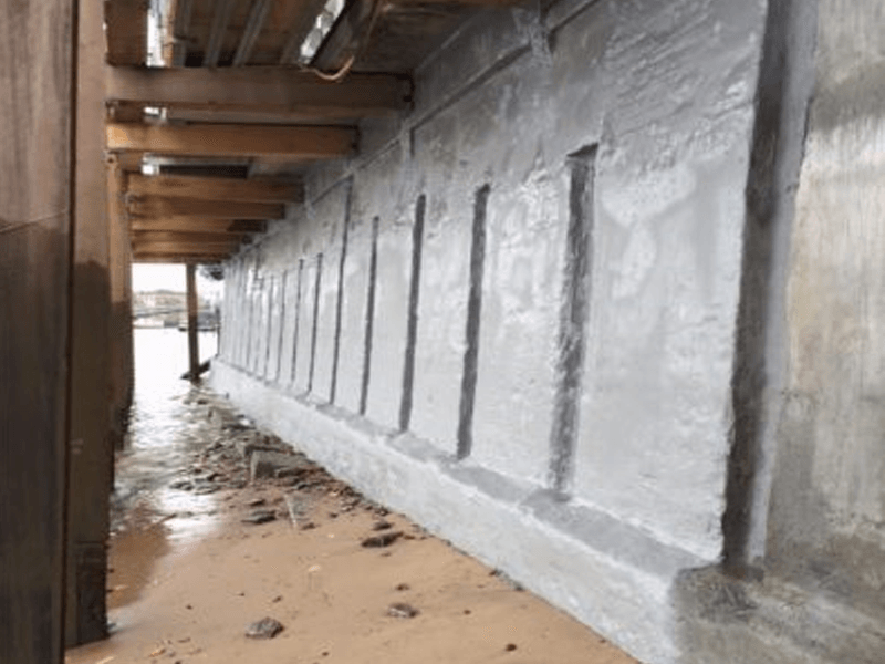 polyurea waterproofing river wall